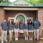 ROSARY Senior House Captains (Mackenzie Dewitt, Rutha Gola, Jacob Leatherman, and Mia Martin-FUller) and Junior House Captains (Isaac Asiedu, Mary Cate Kitsmiller (not pictured) and Lindi Sweeney (not pictured))